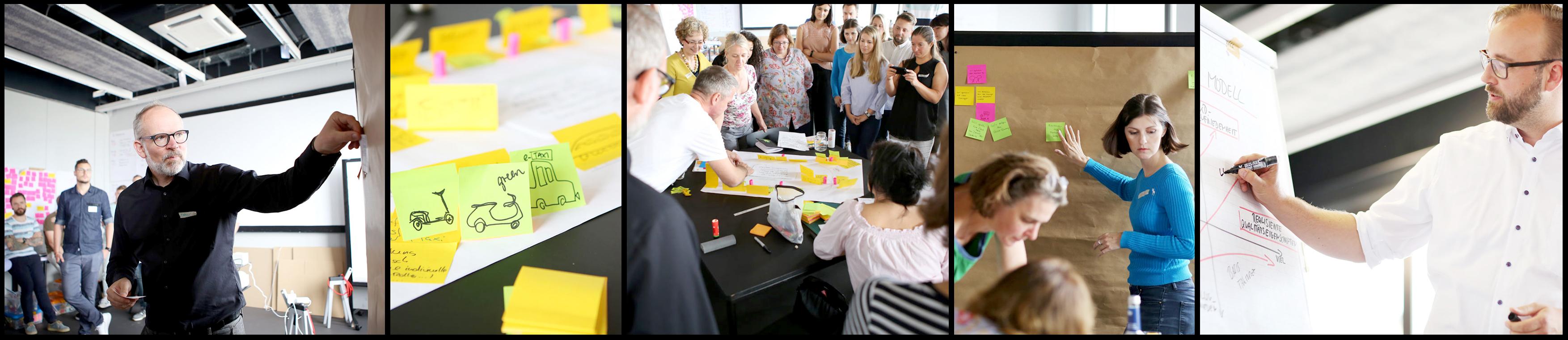 Eine Fotoleiste zu unseren Essentials: strategisches Vorgehen trifft intuitive Werkzeuge in einem co-kreativen Prozess